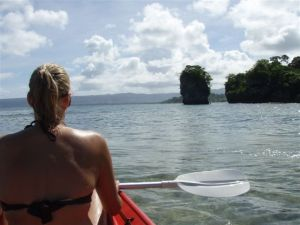 Me on my honeymoon in Vanuatu - kayaking (and wondering why I married my husband who was behind me getting the shits because we couldn't  paddle in unison!