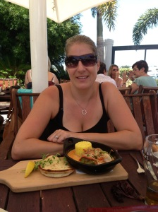 Check out my yummy lunch - prawn thai red curry, excuse the side of super hot cleavage.