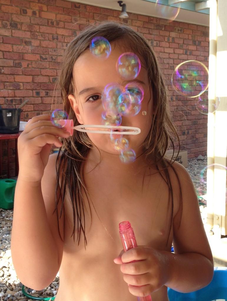Bubbles on the back veranda!