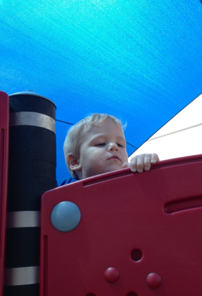 Mmmm, I wonder if mum will know if I throw myself down the slide?