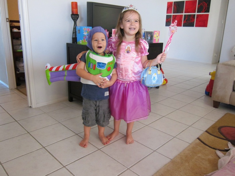 The morning of her 4th birthday with her little Buzz brother