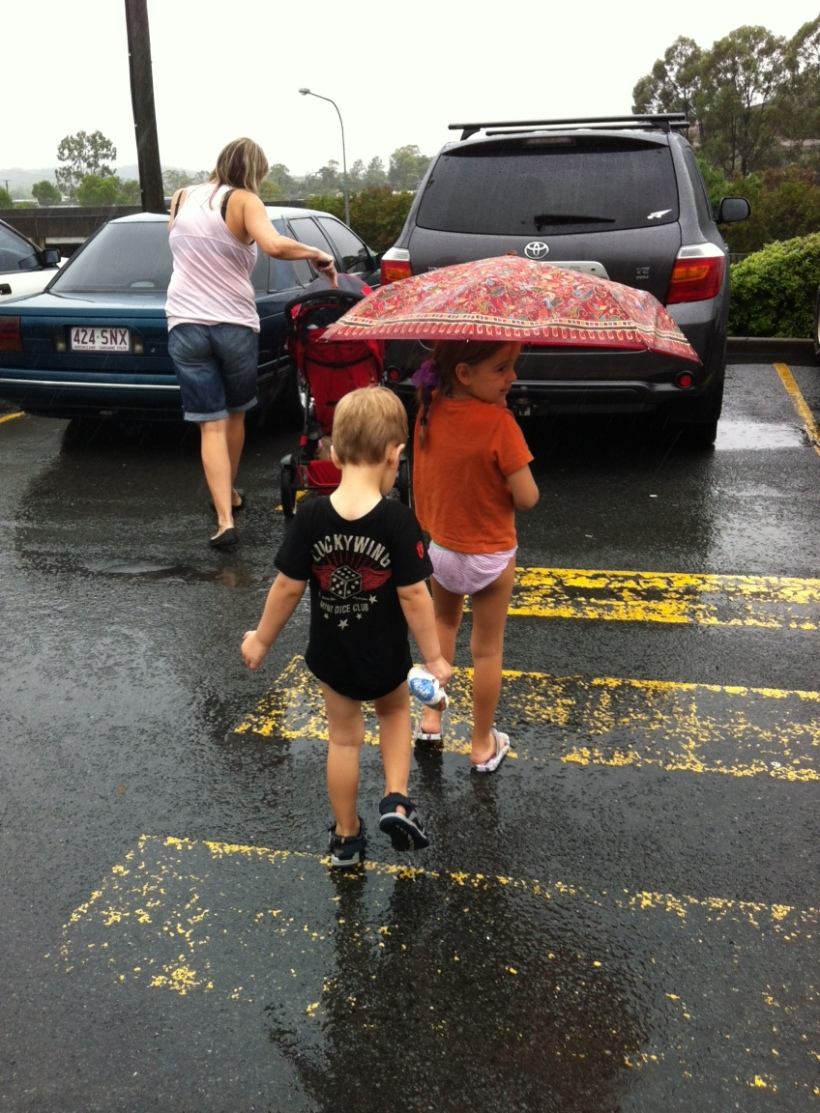 The kids got caught in the rain at Maccas playground but were happy to play in wet knickers and crazy shirts for 1.5 hours :) Must have been the great company @ Aroha