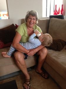 My gorgeous mum feeding No.3 at a stupidly early hour in the morning! THANKS mumma!