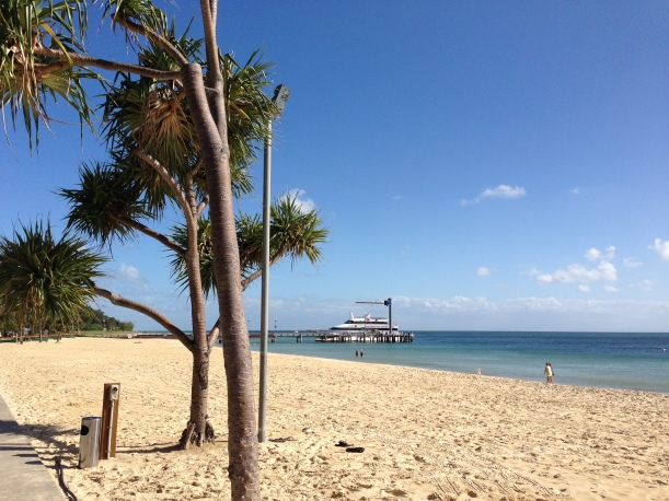 We could have been on any tropical beach in the South Pacific, except we were a one-hour ferry trip from Brisbane
