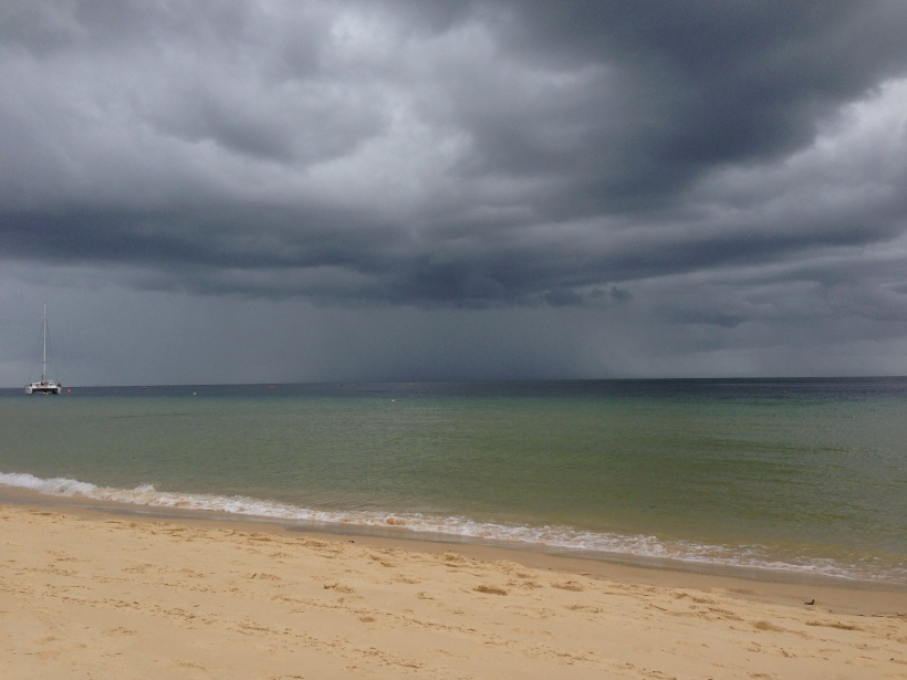 Looking from Moreton Island towards Brisbane, a storm's a brewing!