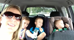 Happy kids - and happy mum because they are all in the car and can't get out!