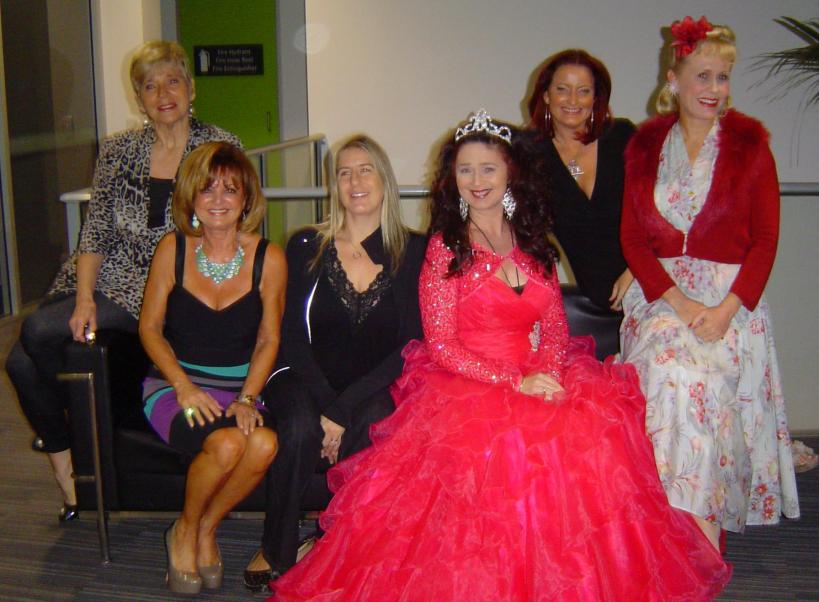 Here's the gorgeous women I spoke alongside, notice how they are all looking at the one camera - EXCEPT ME! I actually look like an usher amongst all the glam girls! L to R - Lyn Traill , Ruth Simons, ME, Petrina Zaphir , Bridget Daley,  Chrissy Keepance. (pic can removed if any of you AWESOME/NICE women want me to - Em)