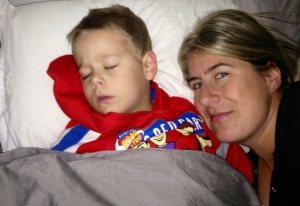 I totally photo bombed my son during his sleep and lay their for 40 minutes!