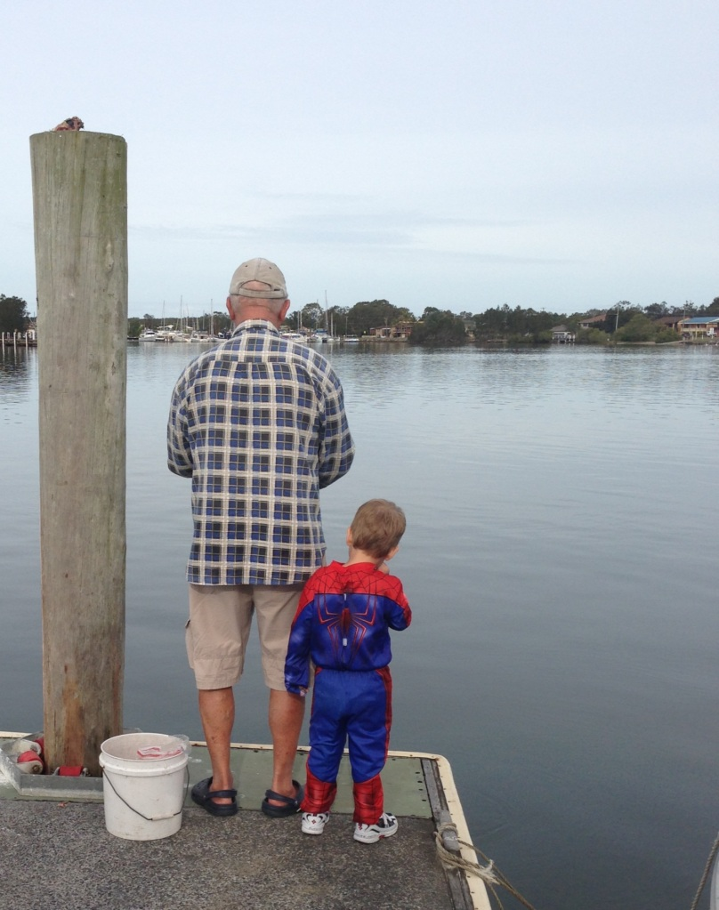 My lil' Spiderman took a shine to this sweet fisherman!