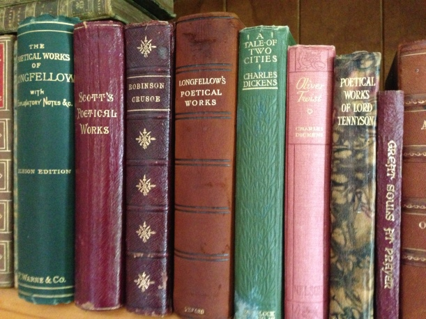 Some of the books, original, that are in my parents book shelf - many 100 years old.