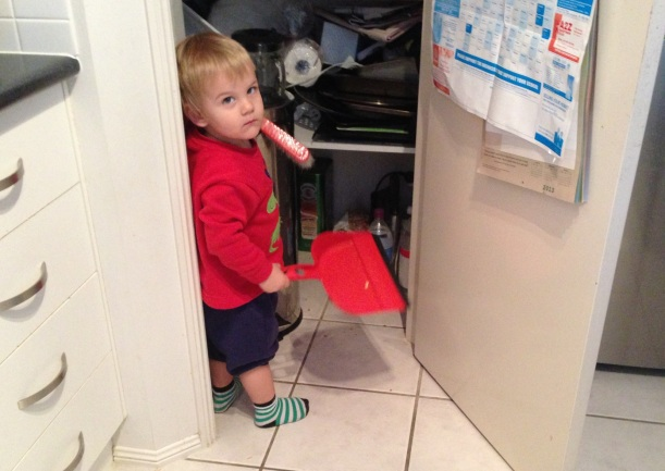 See mum - this is the pantry, inside is a rubbish bin - use this dustpan and brush to clean up - it's THAT EASY!