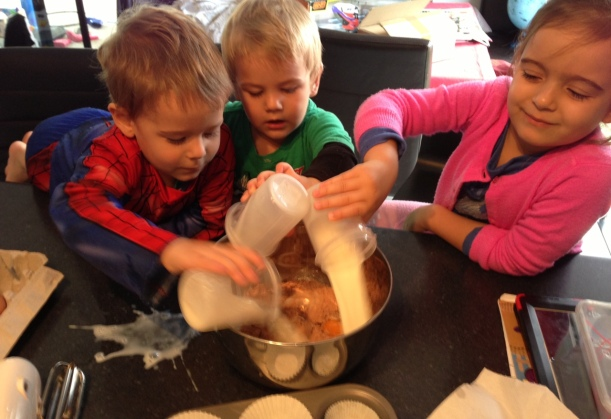 Three chefs helping me make a cake - talk about a mission!