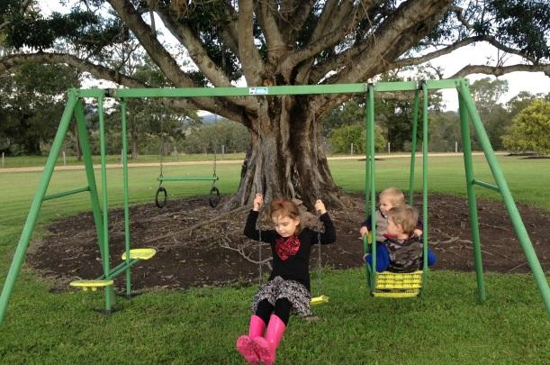 All three under the big tree!