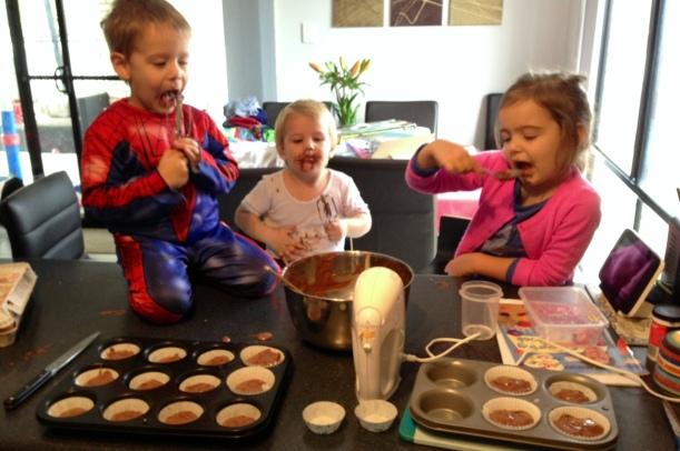 Time to eat the batter, I think we actually only got about 12 to 15 cupcakes, the rest was eaten by the kids - they were having fun so MEH!